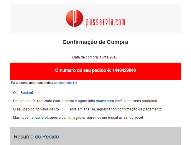 Passarela transactional email: purchase confirmation.